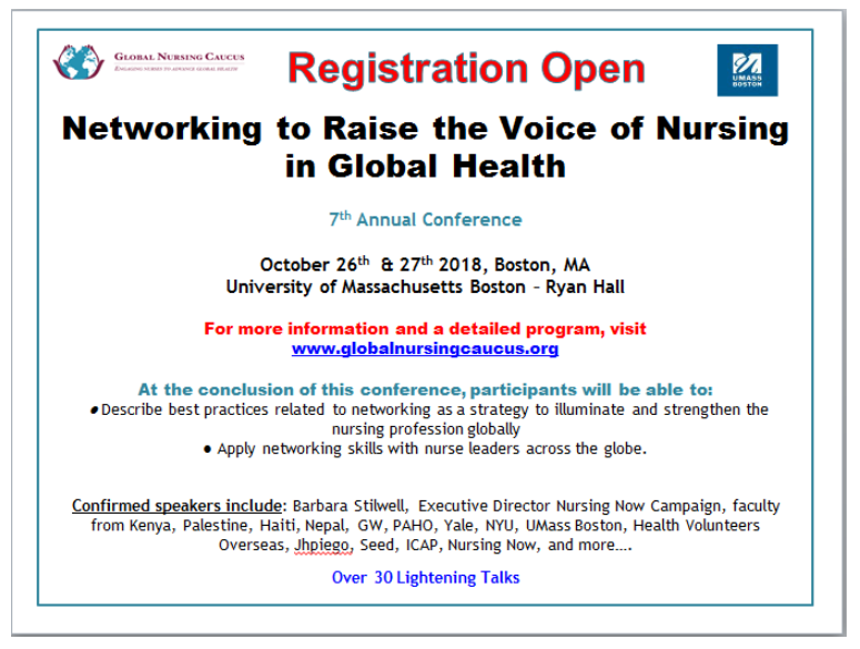 October 26 & 27 – Networking to Raise the Voice of Nursing in Global Health